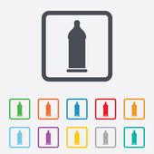 Condom safe sex sign icon. Safe love symbol. — Stock Vector