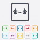 Couple sign icon. Woman plus woman. Lesbians. — Stock Vector