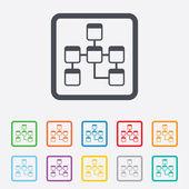 Veritabanı işareti simgesi. ilişkisel veritabanı şeması. — Stok Vektör