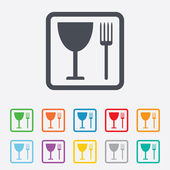 Eat sign icon. Cutlery symbol. Fork and wineglass. — Vetorial Stock
