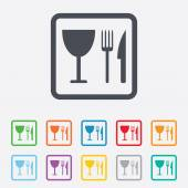Eat sign icon. Knife, fork and wineglass. — Vetorial Stock
