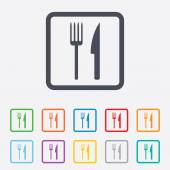 Eat sign icon. Cutlery symbol. Fork and knife. — Vetorial Stock