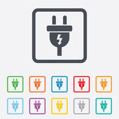 Electric plug sign icon. Power energy symbol. — Stock Vector