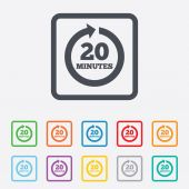 Every 20 minutes sign icon. Full rotation arrow. — ストックベクタ