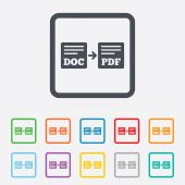 Export DOC to PDF icon. File document symbol. — Wektor stockowy