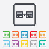 Export XML to PDF icon. File document symbol. — Vector de stock