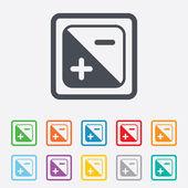 Exposure photo camera sign. Quantity of light. — Vector de stock