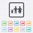 Complete family with one child sign icon. — Stock Vector #57210917
