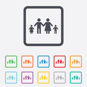 Complete family with two children sign icon. — Stok Vektör