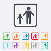 One-parent family with one child sign icon. — Stok Vektör
