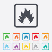 Fire flame sign icon. Heat symbol. — Stock Vector