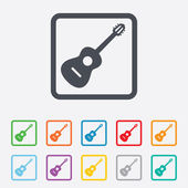Acoustic guitar sign icon. Music symbol. — Stock Vector