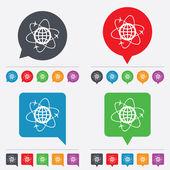 Glob ikona znak. symbol logistyki na świecie. — Wektor stockowy