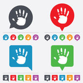 ícone de impressão sinal de mão. símbolo de parada. — Vetor de Stock