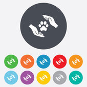 Protection of animals sign icon. Hands. — Stock Vector