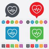 Heartbeat sign icon. Cardiogram symbol. — Stock Vector