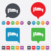 Human in bed icon. Rest place. Sleeper symbol. — Stock Vector