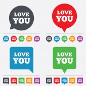 Love you sign icon. Valentines day symbol. — Wektor stockowy
