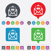 Mail print icon. Envelope symbol. Message sign. — Stock Vector