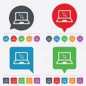 Laptop sign icon. Notebook pc with cursor symbol — Stok Vektör