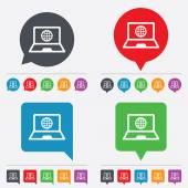 Laptop sign icon. Notebook pc with globe symbol — 图库矢量图片