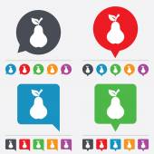 Pear with leaf sign icon. Fruit symbol. — Stock Vector