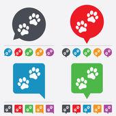 Paw teken pictogram. hond huisdieren stappen symbool. — Stockvector