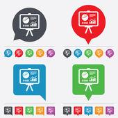Presentatie billboard teken pictogram. diagram symbool — Stockvector