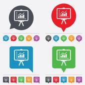 Presentation billboard sign icon. Diagram symbol — Stock Vector