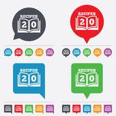 Cookbook sign icon. 20 Recipes book symbol. — Stock Vector