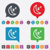 Sleep sign icon. Moon with zzz button. — Stock Vector
