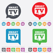 Widescreen Smart TV sign icon. Television set. — Stock Vector
