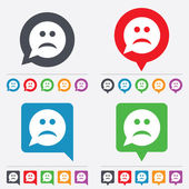 Triste ícone de sinal de face. símbolo tristeza. — Vetor de Stock