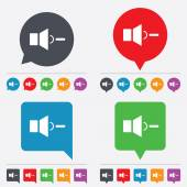 Speaker low volume sign icon. Sound symbol. — Stock Vector
