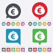 Wallet euro sign icon. Cash bag symbol. — Stock Vector