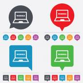 Webinar laptop sign icon. Notebook Web study. — ストックベクタ