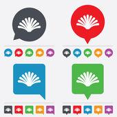 Ícone de sinal de concha do mar. símbolo de concha. ícone de viagens. — Vetor de Stock