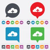 Upload to cloud icon. Upload button. — Stockvector