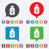 Usb sign icon. Usb flash drive stick symbol. — Stockvector
