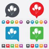 Balloon sign icon. Air balloon with rope. — Stock Vector