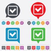 Check mark sign icon. Yes square symbol. — Stock Vector