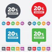 20 percent discount sign icon. Sale symbol. — Stock Vector