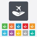 Flight insurance sign. Hand holds plane. — Stock Vector #58222675