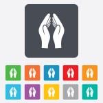 Pray hands sign icon. Religion priest symbol. — Stock Vector #58222953