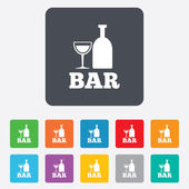 Bar or Pub sign icon. Wine bottle and Glass. — Stock vektor