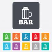 Bar or Pub sign icon. Glass of beer symbol. — Vecteur