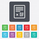 Boarding pass flight sign icon. Airport ticket. — Stock vektor