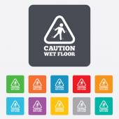 Caution wet floor icon. Human falling symbol. — Stock Vector