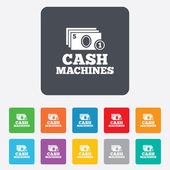 Cash and coin machines sign icon. Paper money. — Stock Vector