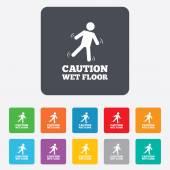 Caution wet floor icon. Human falling symbol. — Stockvektor